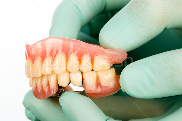 Dentist with dental prostheises Stock photo © Lighthunter