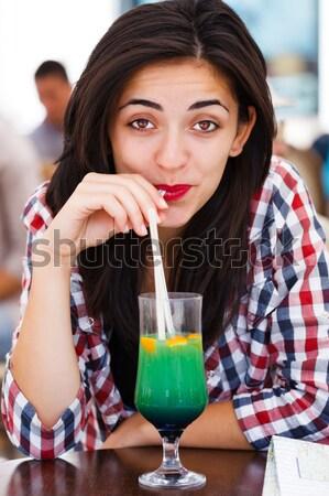 Dobrar mulher jovem belo provocante olhos Foto stock © Lighthunter