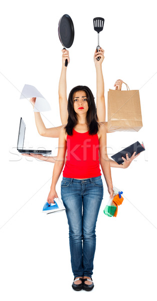 Sad Multitasking Woman Stock photo © Lighthunter