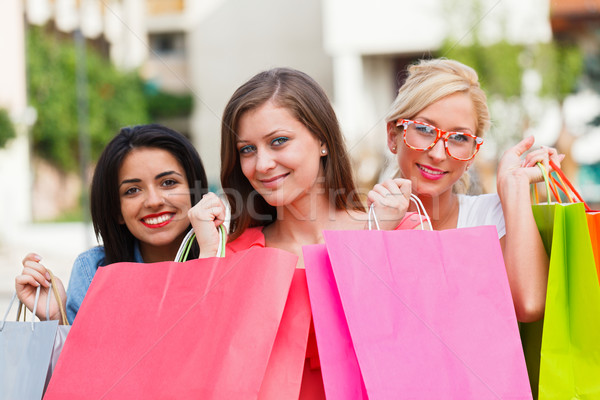 Gorgeous Girls Out Shopping Stock photo © Lighthunter