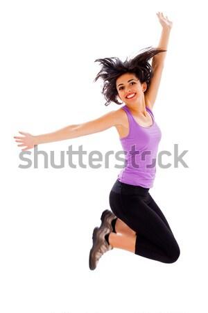 Amor meu bem sucedido vida saudável mulher jovem saltando Foto stock © Lighthunter