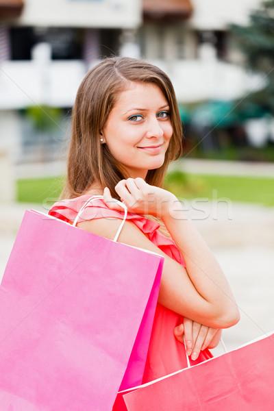 Sorrindo sacos amavelmente sorridente beautiful girl Foto stock © Lighthunter