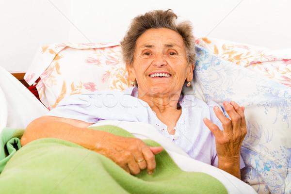 Stockfoto: Praten · gelukkig · bed · home · gezondheid