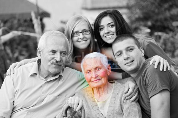 Alzheimer-kór világ idős nő család kezek szeretet Stock fotó © Lighthunter