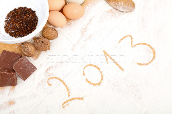 Stock photo: Written in flour - 2013