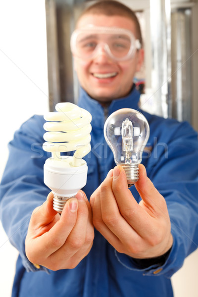 Lets save some money with economic bulb Stock photo © Lighthunter