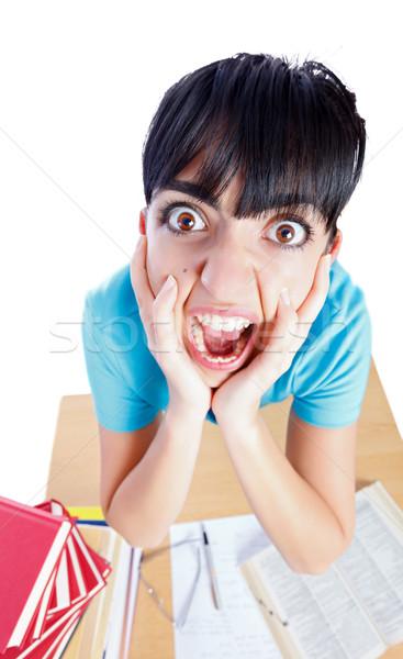 Suficiente mulher gritando aprendizagem exaustão Foto stock © Lighthunter
