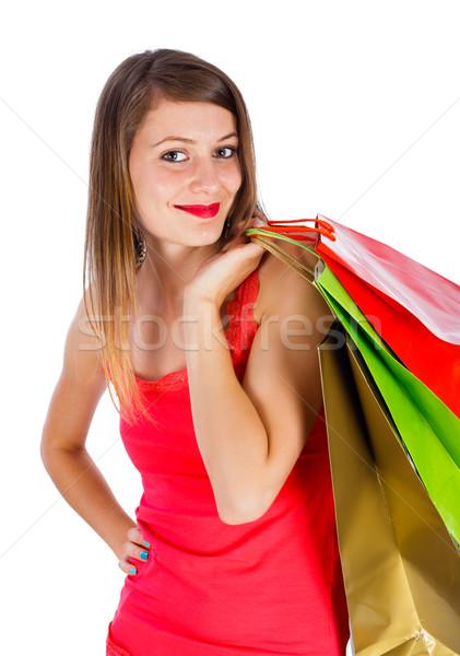 Bela mulher compras mulher atraente sorridente amavelmente Foto stock © Lighthunter
