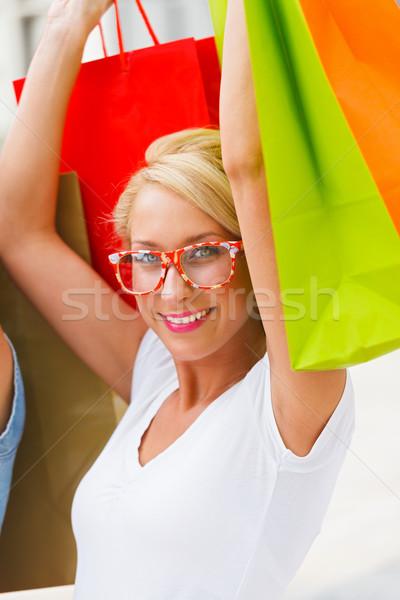 Mulher fora compras belo loiro menina Foto stock © Lighthunter
