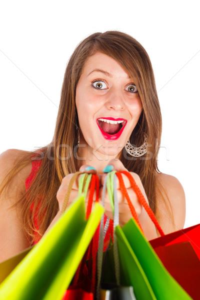 Opgewonden wat gekocht mooie vrouw lachend Stockfoto © Lighthunter