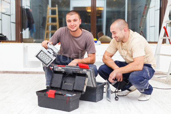 Joyful Handy Men and Their Tool Boxes Stock photo © Lighthunter