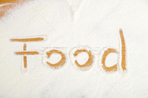 Stock photo: Food written in flour