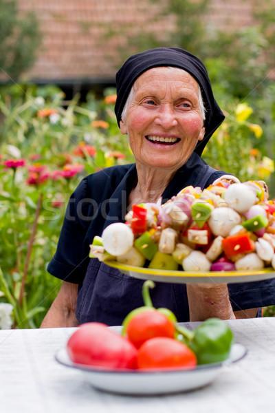 Gülme tablo taze gıda el gıda Stok fotoğraf © Lighthunter