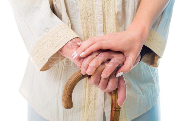 Idős nő szükség idős kezek tart Stock fotó © Lighthunter