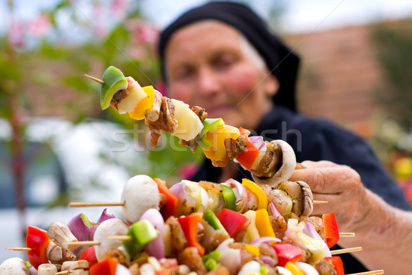 Vers voedsel oude vrouw hand barbecue Stockfoto © Lighthunter