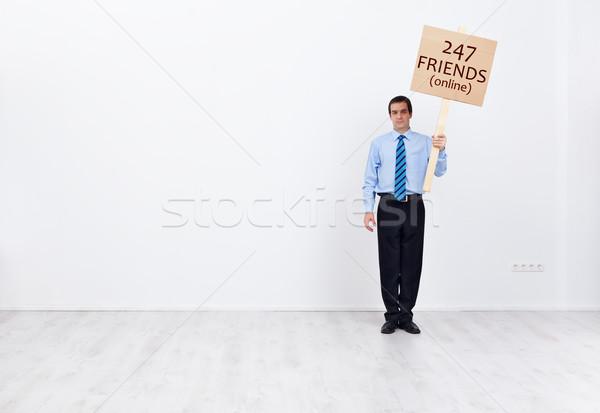Eenzaam zakenman veel online vrienden sociale Stockfoto © lightkeeper