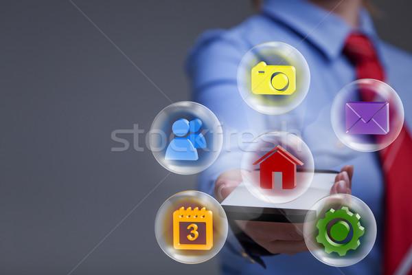 Zdjęcia stock: Business · woman · smartphone · aplikacje · kopia · przestrzeń · technologii · sieci