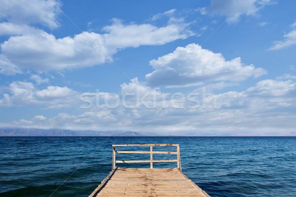 Wooden pier in the mediterranean sea area - copy space Stock photo © lightkeeper