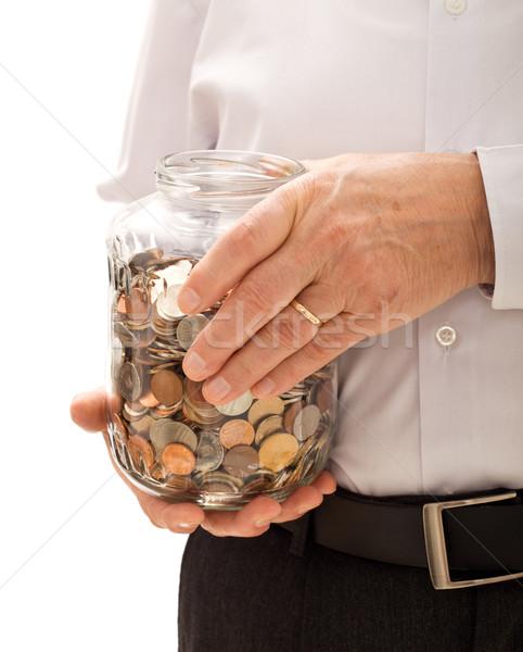 Stockfoto: Senior · man · handen · jar · munten