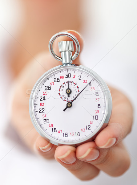 Stopwatch in womans hand - closeup Stock photo © lightkeeper