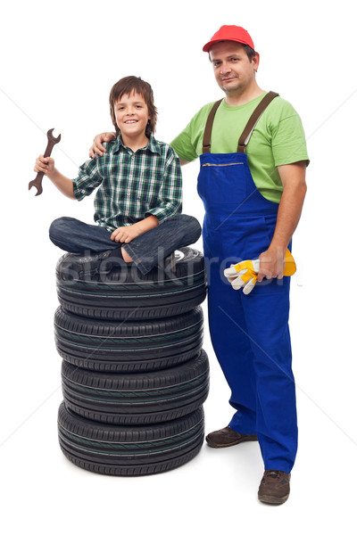 Boy at the auto repair shop Stock photo © lightkeeper