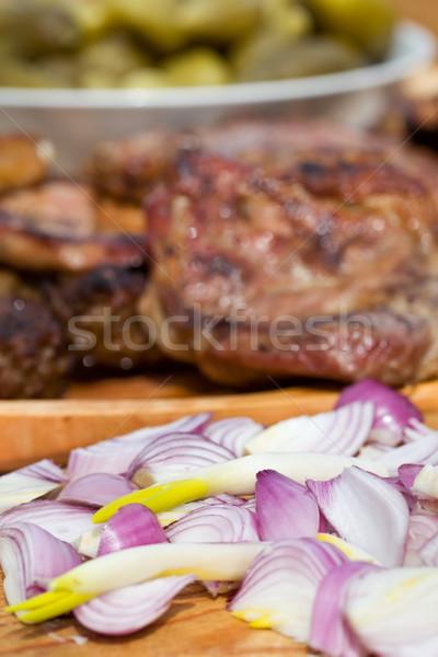 лук гриль мяса свинина пластина Сток-фото © lightkeeper