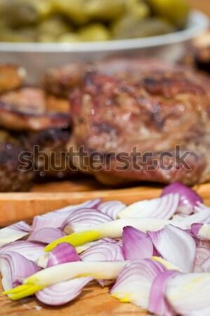 Básico comida carne grelhada fresco cebola fatias Foto stock © lightkeeper