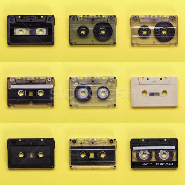 Retro music cassette tapes on yellow background Stock photo © lightkeeper