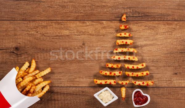 Vrolijk christmas fast food kerstmis boom Stockfoto © lightkeeper