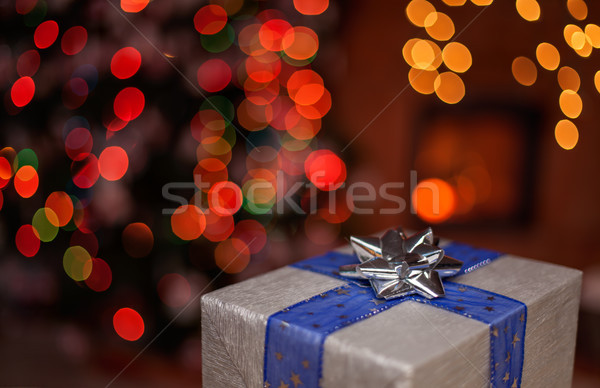 One christmas present in a dark room - with xmas tree and firepl Stock photo © lightkeeper