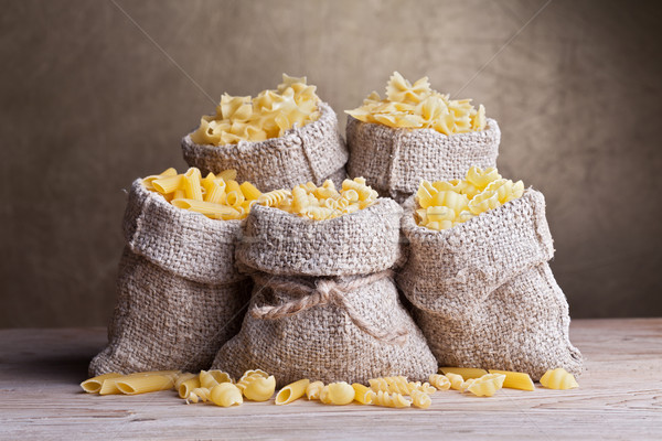 Pasta variety in burlap bags Stock photo © lightkeeper