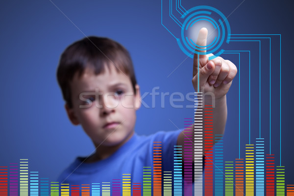 Child pointing to colorful graph - with copy space Stock photo © lightkeeper