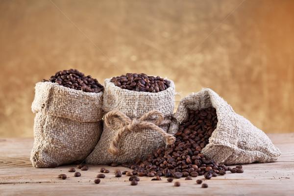Café pano de saco sacos grãos de café velho Foto stock © lightkeeper