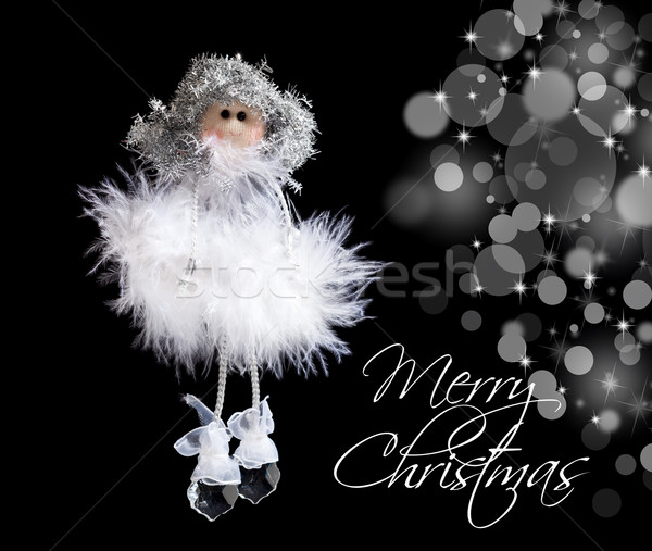 Fluffy angel and christmas lights Stock photo © lightkeeper