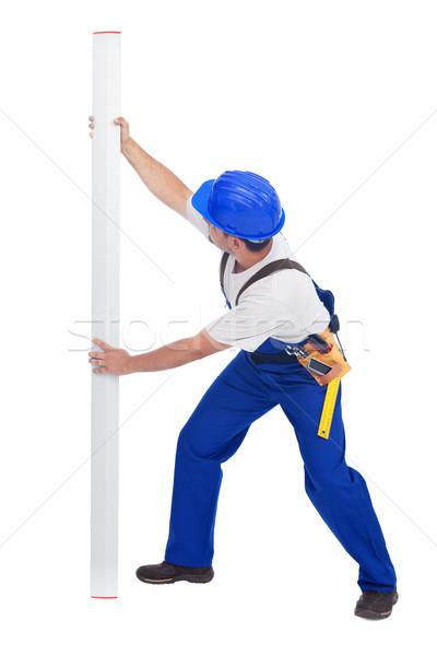 Travailleur souverain vertical ligne chapeau blanche Photo stock © lightkeeper