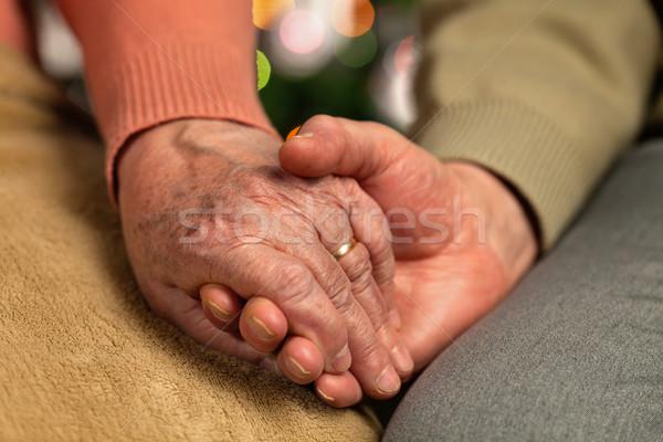 Ráncos öreg idős kezek tart karácsony Stock fotó © lightkeeper