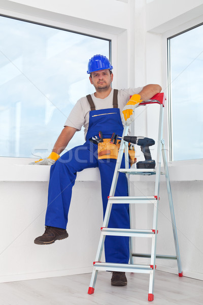 Handyman or worker resting after work Stock photo © lightkeeper
