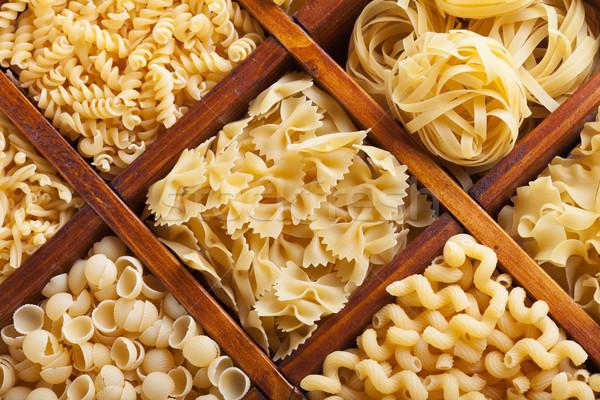 Pâtes bois nourriture italienne variété or jaune Photo stock © lightkeeper
