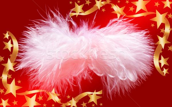 Fluffy christmas angel in golden stars frame Stock photo © lightkeeper