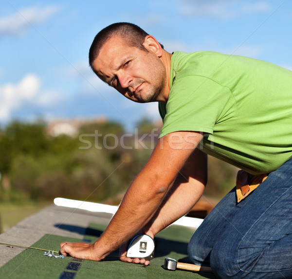 ストックフォト: 男 · 屋根 · 最後