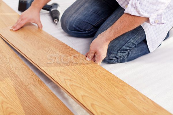 Installing laminate flooring Stock photo © lightkeeper