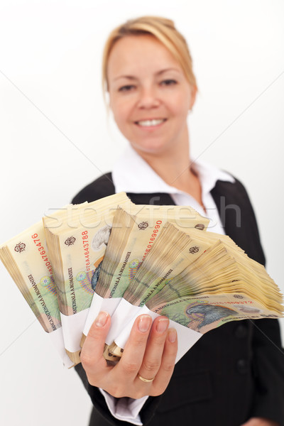 Kobieta rumuński waluta business woman płytki Zdjęcia stock © lightkeeper