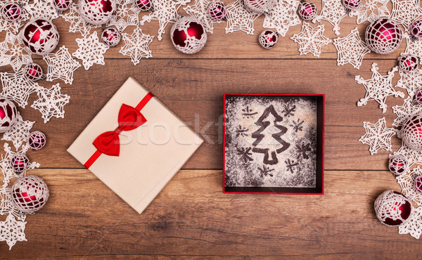Christmas tree and stars in a gift box Stock photo © lightkeeper