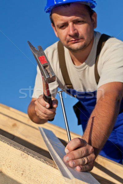 Carpenter working on the roof Stock photo © lightkeeper