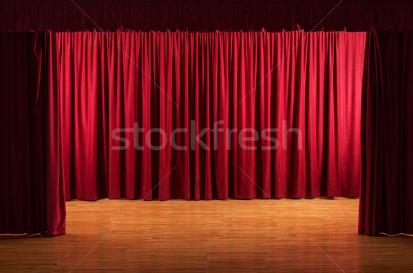 The stage - theatrical scene with red curtains Stock photo © lightkeeper