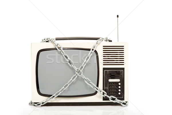 Vintage television set in chains Stock photo © lightkeeper