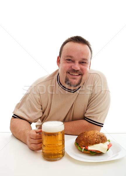 Consumidor felicidade ignorância feliz hambúrguer Foto stock © lightkeeper