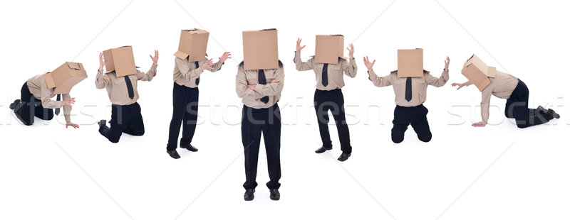 Business school concept with box head businessman Stock photo © lightkeeper