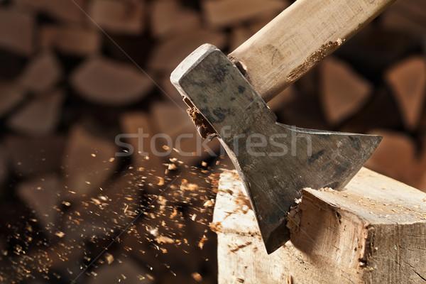 Hacha madera primer plano chips Foto stock © lightkeeper