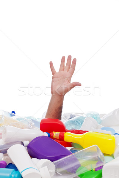 Man drowning in plastic recipients pile Stock photo © lightkeeper